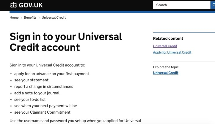 Universal Credit sign-in screen