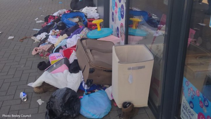 flytipping outside a charity shop