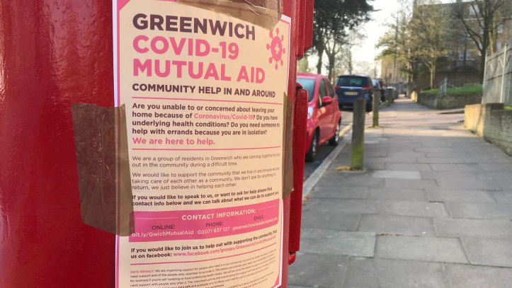 Greenwich Mutual Aid poster in Charlton