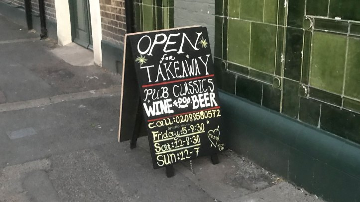 Pelton Arms A-board advertising takeaway