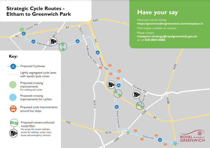 Greenwich Park to Eltham cycle route