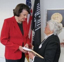 Senator Feinstein speaks with Lillian Judd, a Holocaust survivor and a Californian on May 16, 2012.