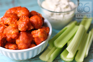 vegan buffalo wings with vegan blue cheese