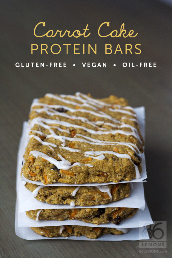 Carrot Cake Protein Bars (vegan, gluten-free, oil-free)  86lemons.com