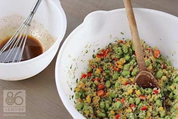 Vegan Quinoa Corn Edamame Salad in Mixing Bowl