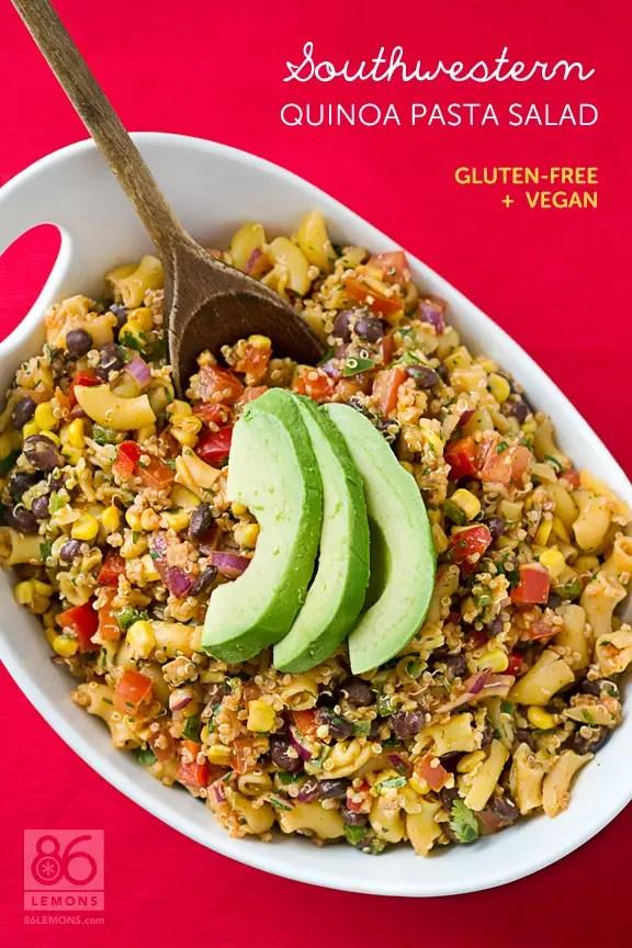 Southwestern Quinoa Pasta Salad #vegan #glutenfree 86lemons.com