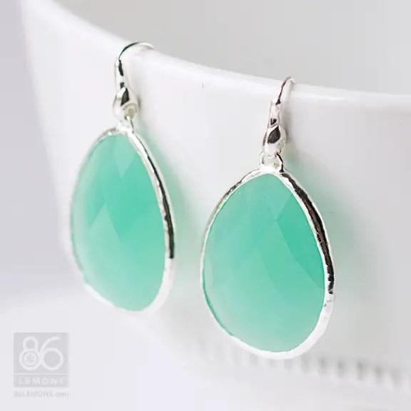 Hand-cut Aqua Glass Earrings from Stella & Dot  86lemons.com #accessories #jewelry #earrings #aqua #mint