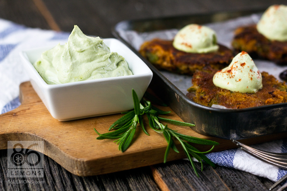 Sweet Potato Asparagus Cakes with Lemon Basil Cream #appetizer #vegan #glutenfree 86lemons.com
