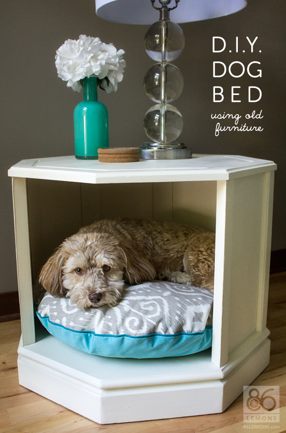 Charmant Dog Bed Made From Old Side Table. #repurpose #furniture #dogbed #sewing