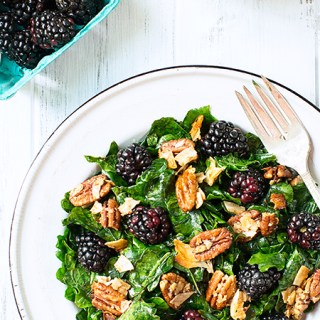 Kale Salad with Blackberries and Toasted Coconut-Pecan Clusters (v/gf)