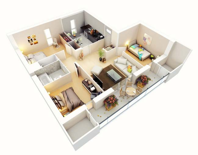17 Three Bedroom House Floor Plans