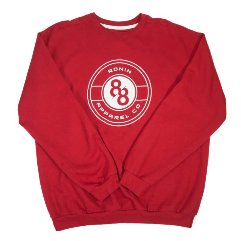 Red Crew Neck sweater with 88Ronin Apparel Co. crest.