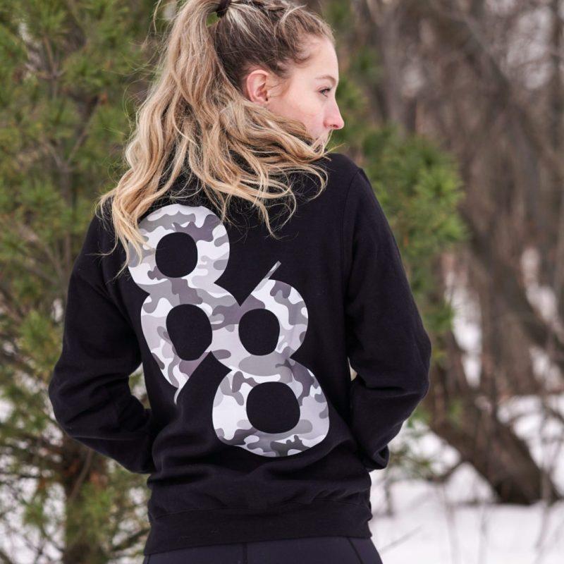 Lifestyle back of camo hoodie