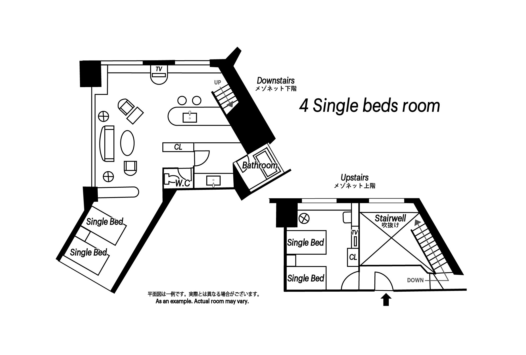 Deluxe 4 Single Beds