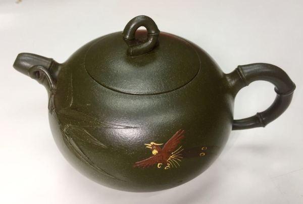 國家級紫砂陶藝大師 季益順 手工製作 綠泥 蜂鳥竹節壼