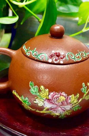 萬福祈同 大紅袍 富貴 牡丹花 西施款 紫砂壺