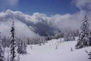 the clouds part at base camp!