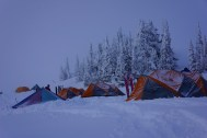 base camp in whiteout
