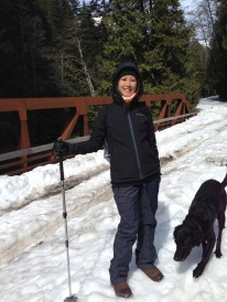 Tina and Argus on our snowy hike. All this snow was only 1 hr away from Seattle.