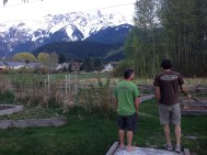 Our new landlord showing Jared the backyard and the view. Not too shabby.