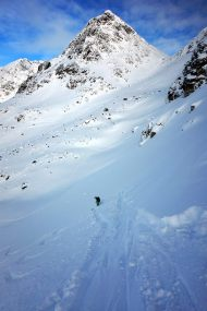 Dropping into a giant bowl of white pow! Photo credit: Adrian Bolden
