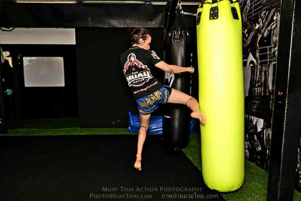 Sylvie training on the bag at Venum Training Camp