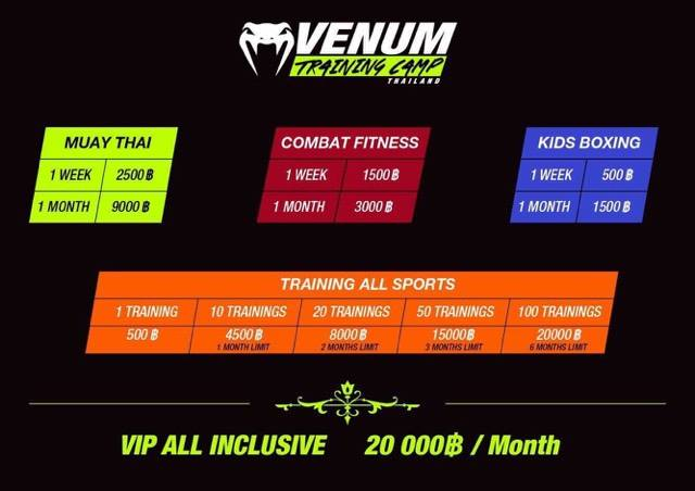 Venum Training Camp Prices - Pattaya