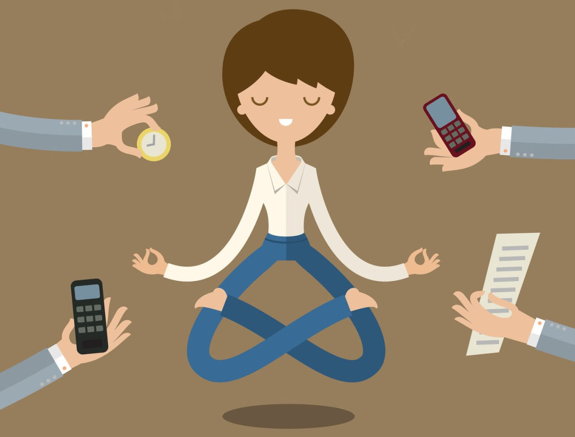 47619318 - businesswoman doing yoga to calm down the stressful emotion from multi-tasking and very busy working.