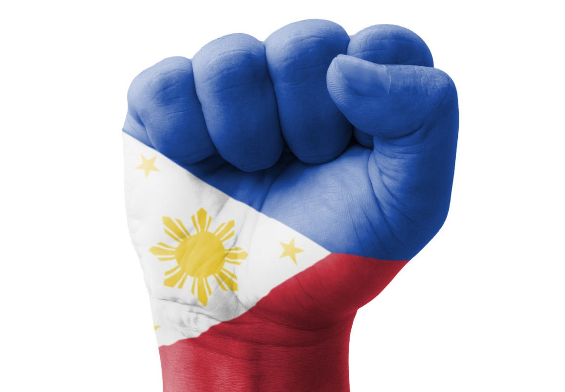 22288401 - fist of philippines flag painted, multi purpose concept - isolated on white background