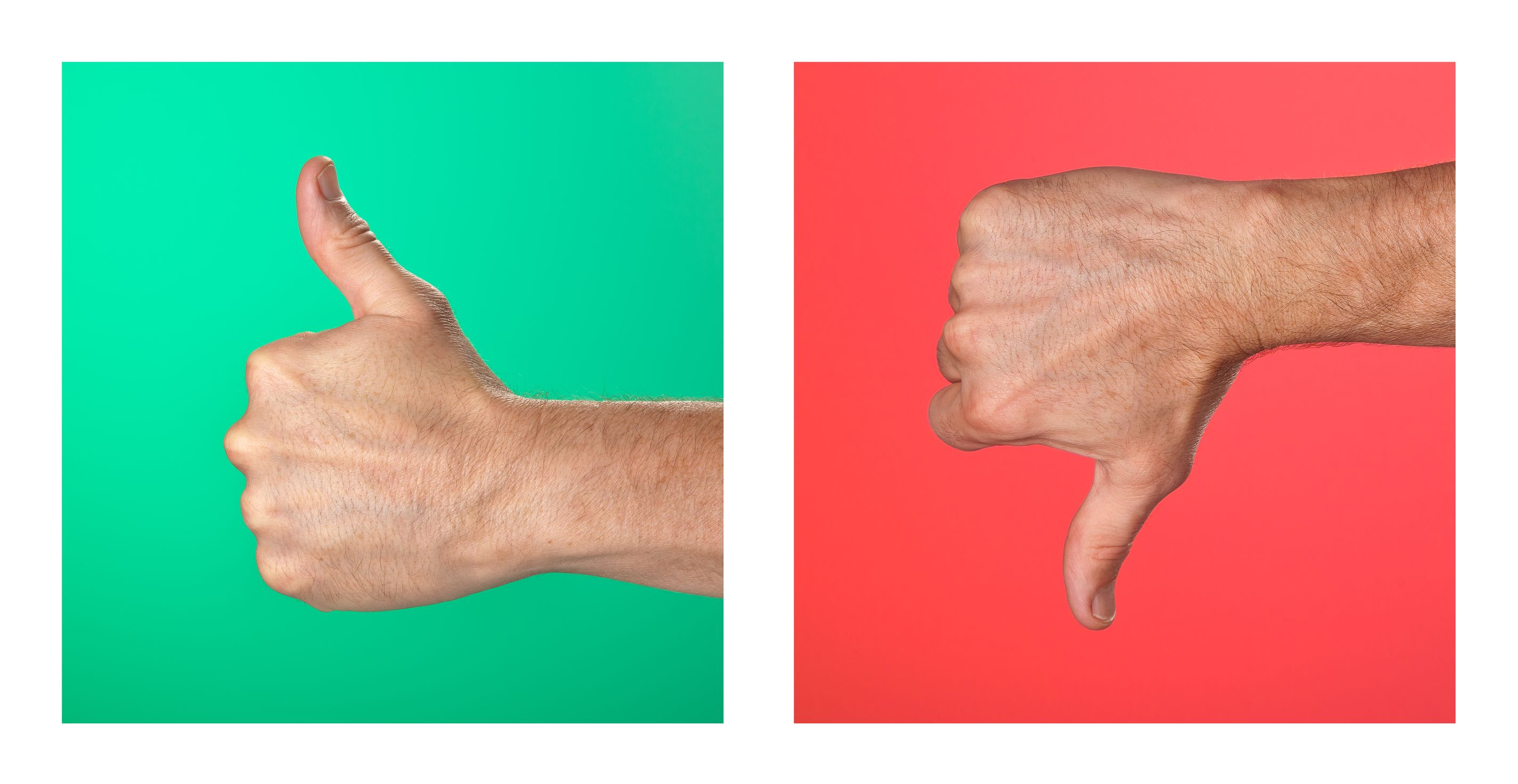 10537371 - pair of thumbs up and thumbs down signs on green and red background