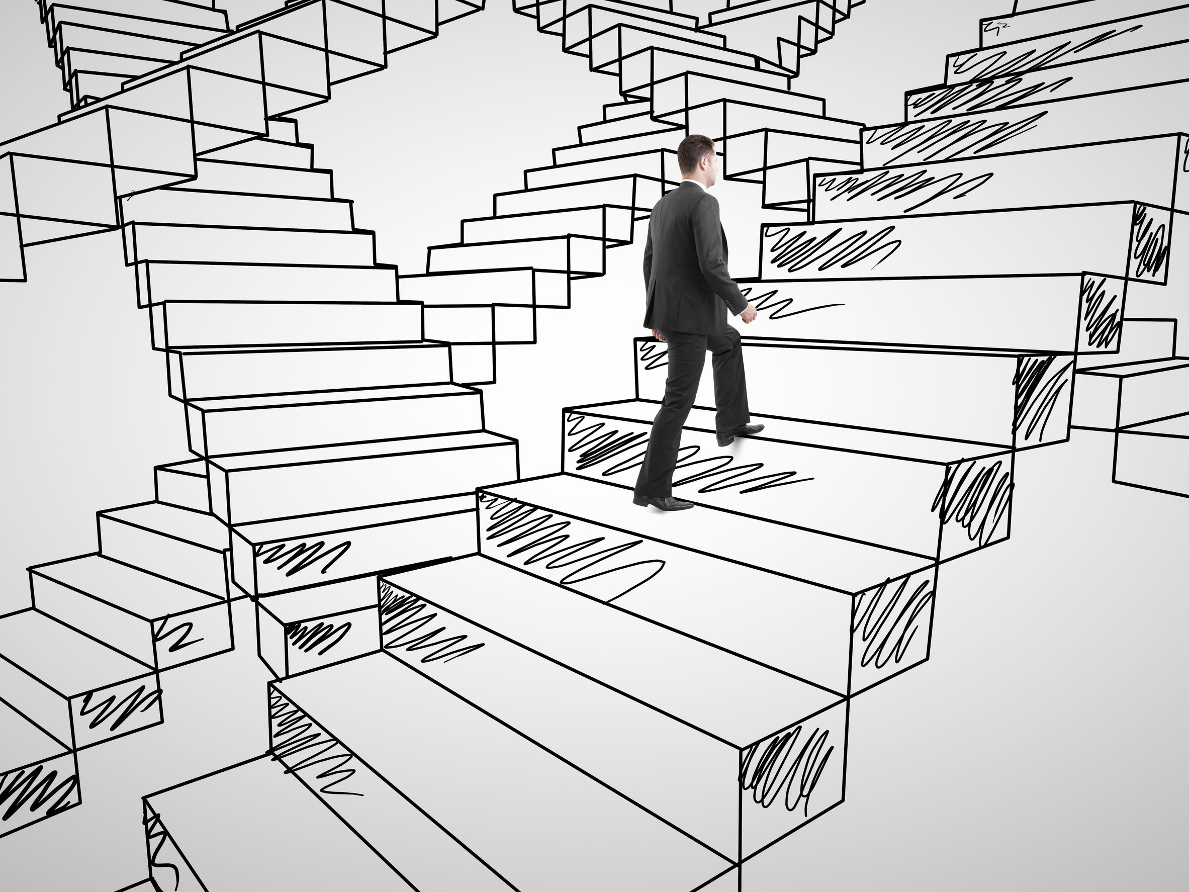 24414771 - businessman climbing on drawing stairs