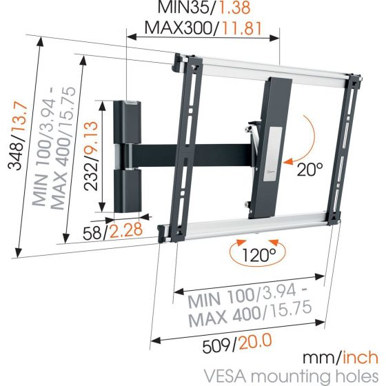 THIN 425 ExtraThin Soporte TV Giratorio 400×400 | Vogel's