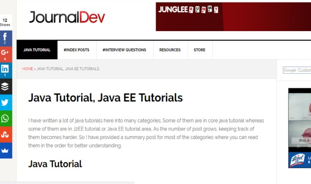 journaldev tutorial websites for java 2017