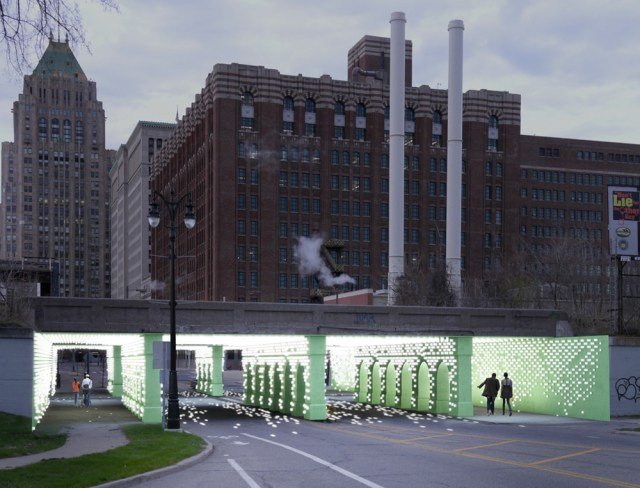A rendering of Reflector, which aims to transform the Cass Avenue viaduct between Midtown and the New Center. | via bioLINIA Midtown Viaducts