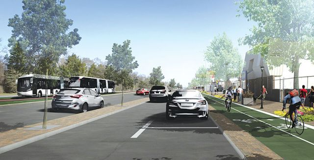 A rendering of the proposed complete streets concept near Palmer Park in Detroit. Backers hope this section, from McNichols to I-696, can serve as a pilot project.