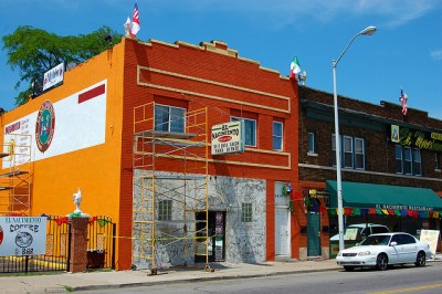 Storefronts in Mexican Town in Detroit.