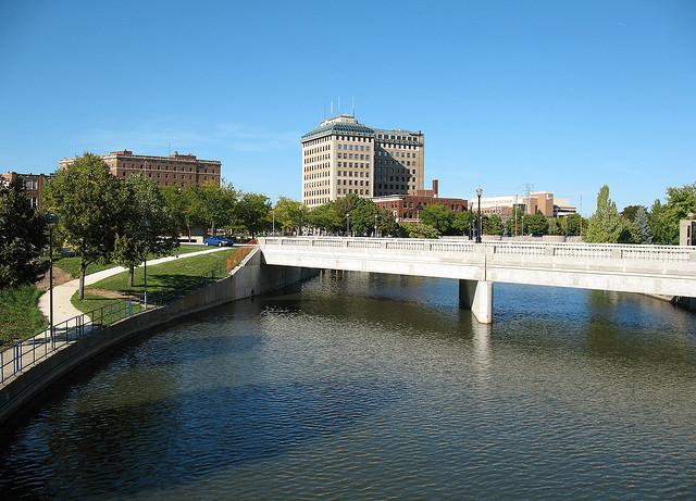 The Flint River in downtown Flint.