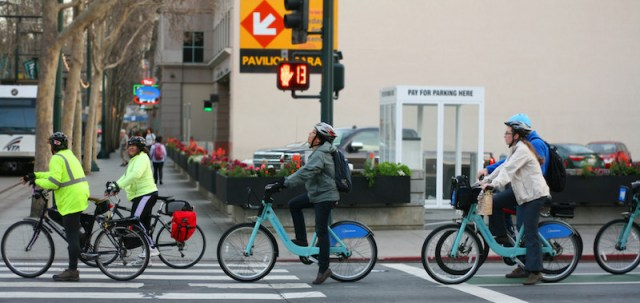 Users of a bike share program in San Jose, Calif.