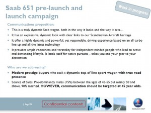 """9-5NG SportCombi (code name: """"651"""") PR plan, December 2010"""