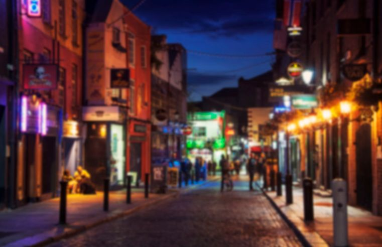50770357 - blurred travel backgrounds - nightlife at popular historical part of dublin, ireland - temple bar quarter. the area is the location of many bars, pubs and restaurants
