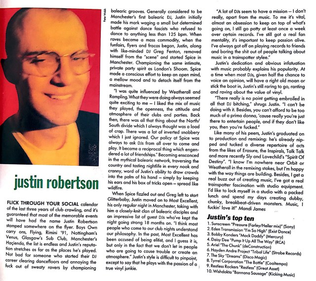 Justin Robertson on why music should be an 'obsession'… [March 1992]