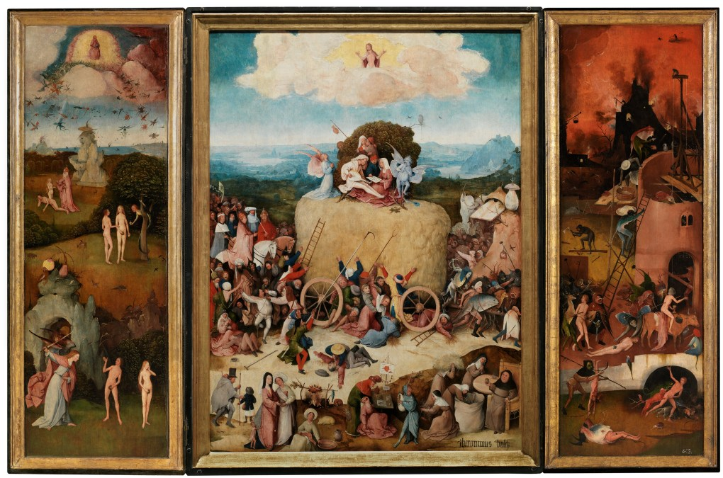 Tríptico del carro de heno El Bosco Óleo sobre tabla, 133 x 100 cm (tabla central); 136,1 x 47,7 (tabla izquierda); 136,1 x 47,6 cm (tabla derecha) h. 1512-15 Madrid, Museo Nacional del Prado