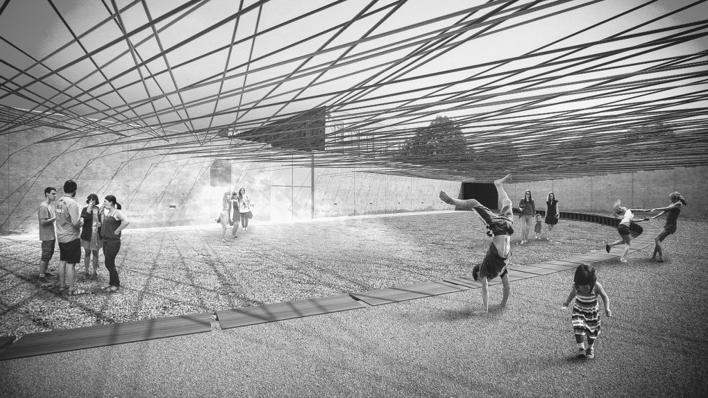 "Rendering de ""Weaving the Courtyard"" de Escobedo Soliz Studio, diseño ganador del Young Architects Program 2016. The Museum of Modern Art y MoMA PS1. Imagen cortesía de Escobedo Soliz Studio."