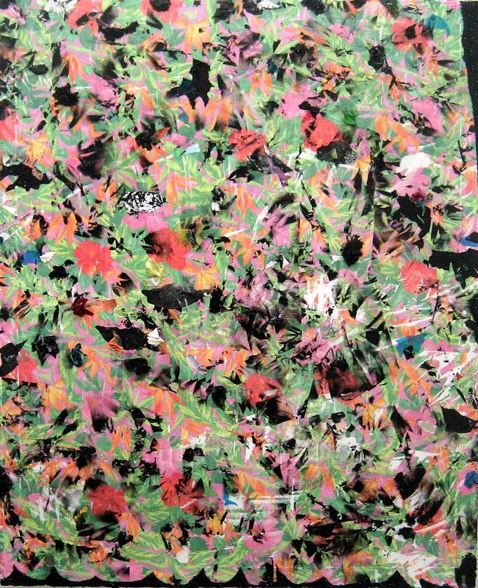 Sebastián Vallejo. Despertar en Enero II, 2013, pigmento transferido, aerosol, textiles y brillantina sobre lienzo, 50x60