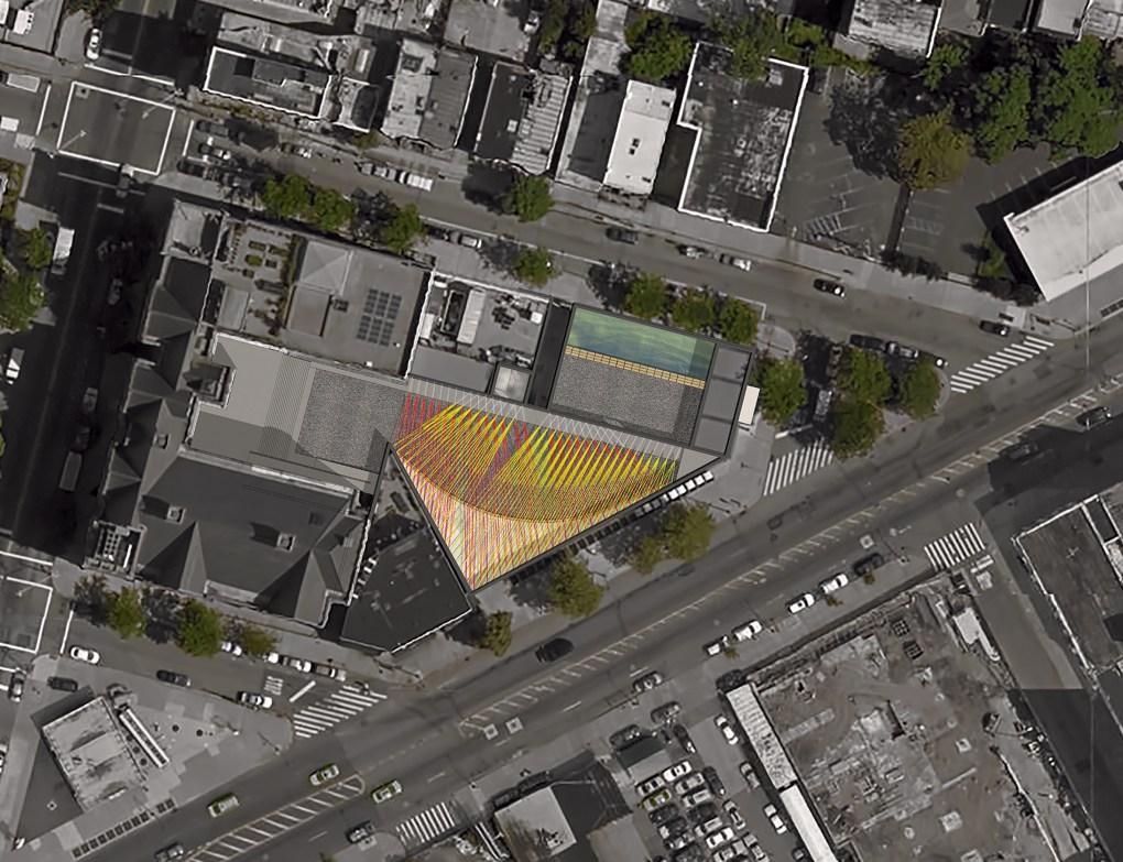 "Rendering de ""Weaving the Courtyard"" de Escobedo Soliz Studio, diseño ganador del Young Architects Program 2016. The Museum of Modern Art y MoMA PS1. Imagen cortesía de Escobedo Soliz Studio."
