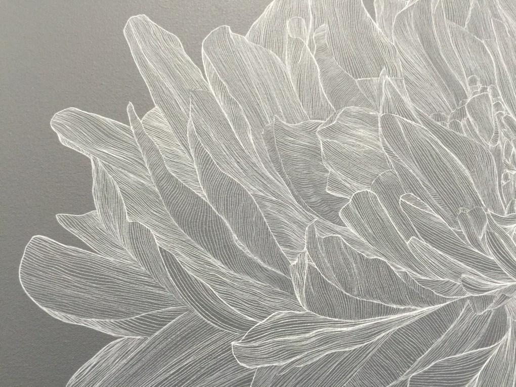 Paeonia Gris, (Fragmento) Tinta sobre lino, 2016. Juan Fernandez (JUFE). De la colección Paeonía, exhibiéndose ahora en la galería La Productora.