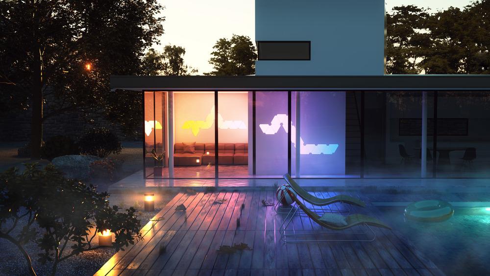 Inspirado en la Aurora Borealis, el Nonoleaf Aurora, controlado por Wifi, transforma la luz a una pintura viviente. Foto: Nanoleaf