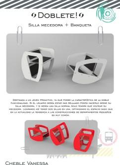 Silla doblete de Vanessa Cheble – Diseño Industrial en Universidad Nacional de La Plata Bellas Artes.