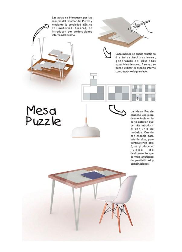 Mesa Puzzle de Luciano Cortez, Claudio Cuello y Morena Soria – Diseño Industrial en Universidad Nacional de San Juan.