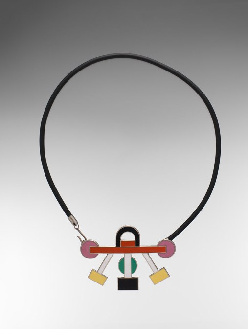Ettore Sottsass (Italian, 1917-2007). Euphoria Necklace. 1985. Enameled metal, rubber and metal. The Metropolitan Museum of Art, Gift of Jacqueline Loewe Fowler, 2017. © Studio Ettore Sottsass Srl